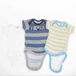 4/$12 GERBER 3-6 Month Baby Onesies Stripes White